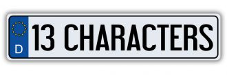 13 Character Custom German European License Plate - Euro (EEC) Style