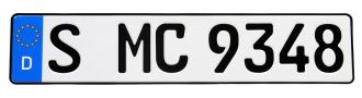 German European License Plate - Euro (EEC) Style