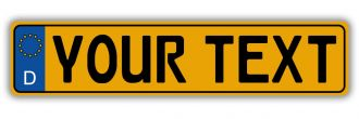 German European License Plate - Euro (EEC) Style  - Reflective Yellow
