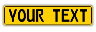 Gloss Yellow European License Plate With Black Characters and Border