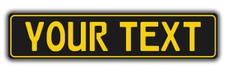Matte Black European License Plate With Yellow Characters and Border