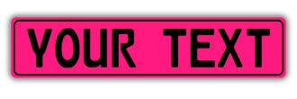 Pink European License Plate With Black Characters and Border