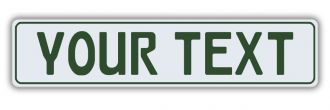 White European License Plate With Green Characters and Border