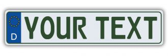 German European License Plate - Euro (EEC) Tax Free Style