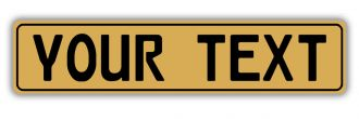 Gold European License Plate With Black Characters and Border