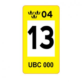 Sweden European Decal - Reflective Plate Seal - Yellow