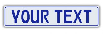 White European License Plate With Blue Characters and Border