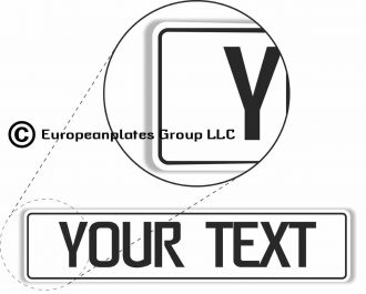 White European License Plate With Black Characters and Border